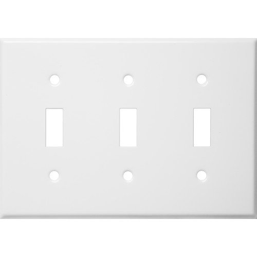 Stainless Steel Metal Wall Plates 3 Gang Toggle Switch White