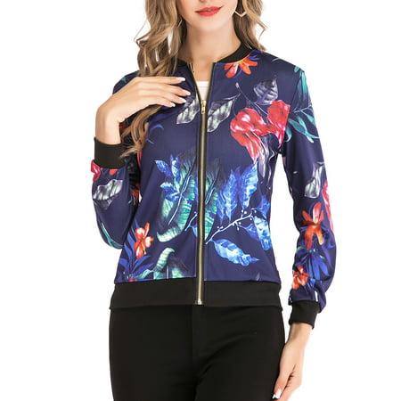 Retro Floral Zipper Up Bomber Jacket Casual Coat Outwear O-Neck Lightweight Windbreaker Jacket For Women