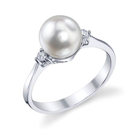 14k Akoya Ring (7.5-8.0mm White Akoya Cultured Pearl & Diamond Jordana Ring in 14K Gold)