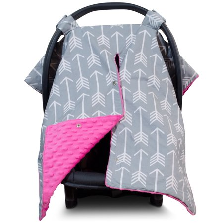 Excellent Kids N Such 2 In 1 Car Seat Canopy Cover With Peekaboo Opening Large Arrow Carseat Cover With Hot Pink Dot Minky Best For Baby Girls And Boys Forskolin Free Trial Chair Design Images Forskolin Free Trialorg