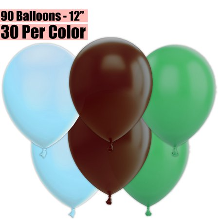 12 Inch Party Balloons, 90 Count - Baby Blue + Brown + Jade Green - 30 Per Color. Helium Quality Bulk Latex Balloons In 3 Assorted Colors - For Birthdays, Holidays, Celebrations, and More!!