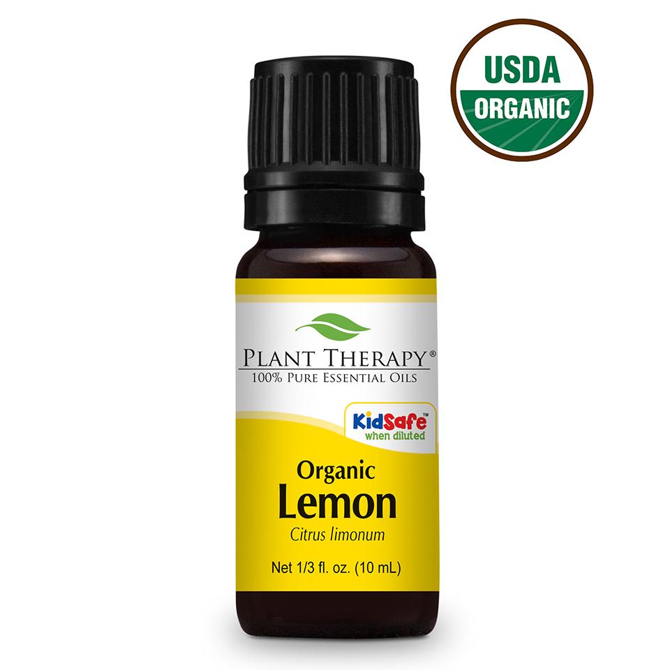 Plant Therapy Organic Lemon Essential Oil 10 mL (1/3 fl. oz.) 100% Pure, Undiluted, Therapeutic Grade