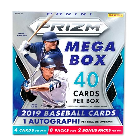 2019 Panini Prizm Baseball Mega Box- New Opti-Chromes |Autos, Rookies, and Prospects | Over 40 MLB Baseball Trading Cards Per Box