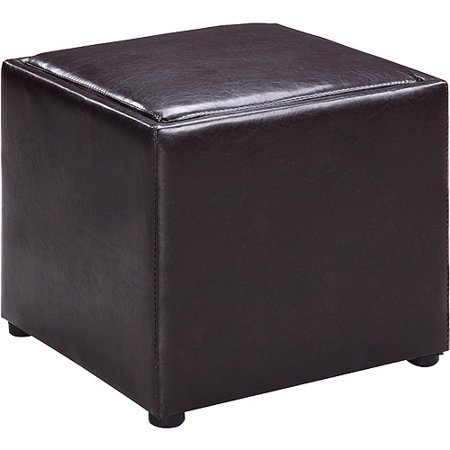 Faux Leather Square Storage Ottoman With Wood Tray Dark