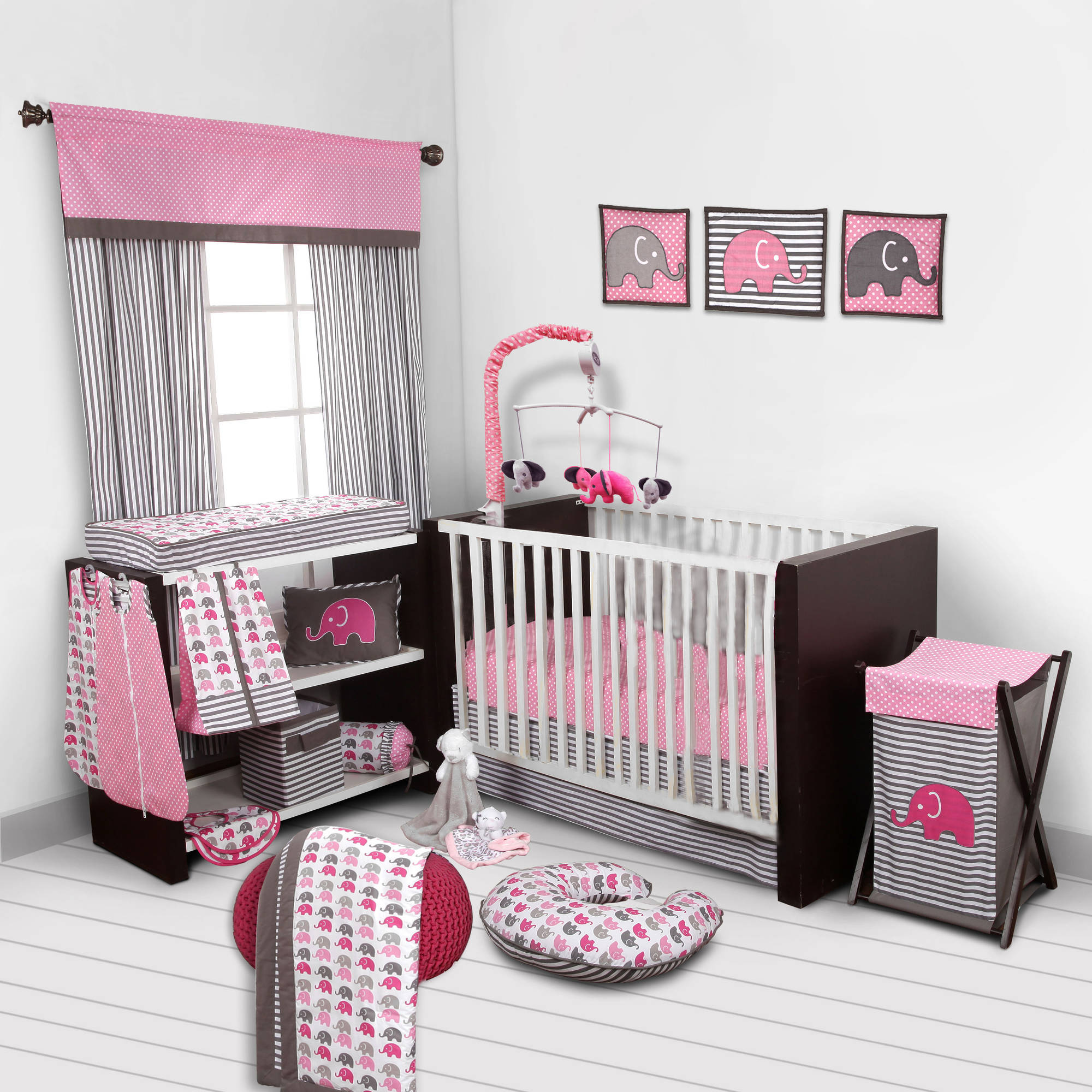 Bacati - Elephants Pink/Gray 10-Piece Nursery in a Bag Crib Bedding Set 100% Cotton Percale Girls Crib Bedding Set with 2 crib fitted sheets (Bumper Pad not included) for US standard Cribs