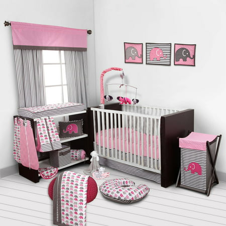 Bacati - Elephants Pink/Gray 10-Piece Nursery in a Bag Crib Bedding Set 100% Cotton Percale Girls Crib Bedding Set with 2 crib fitted sheets Angel Baby Nursery Bedding