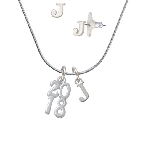 Vertical Year - 2018 - - J Initial Charm Necklace and Stud Earrings Jewelry Set