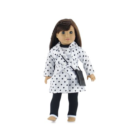 18 Inch Doll Clothes | Stylish Polka-Dot Trench Coat Outfit, Includes T-Shirt, Leggings and Cross Body Purse | Fits American Girl Dolls