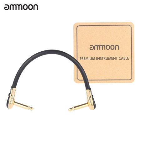 ammoon AC-20 15cm / 0.5 Feet Hight-quality Guitar Patch Cable Cord with 1/4 Inch 6.35mm Golden Right Angle Plug PVC for Effect Pedal (Best Patch Cables For Guitar Pedals)