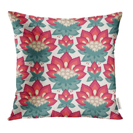 ARHOME Green Beautiful Floral Jacobean Style Flowers Colorful Herbal Red Beauty Birthday Pillow Case Pillow Cover 18x18 inch Throw Pillow Covers ()