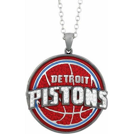 """NBA Mens Swarovski Crystal Stainless Steel Detroit Pistons Medallion Pendant, 24"""" by"""