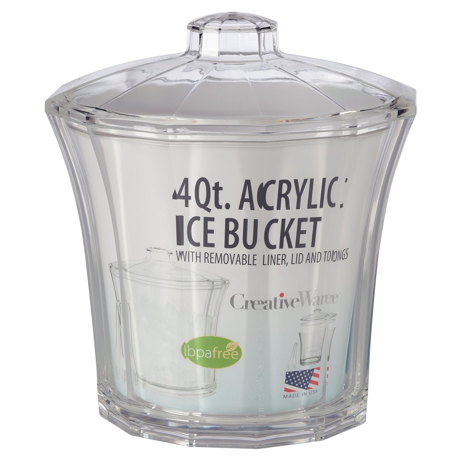 Creative Ware Insulated Acrylic Ice Bucket and Tongs