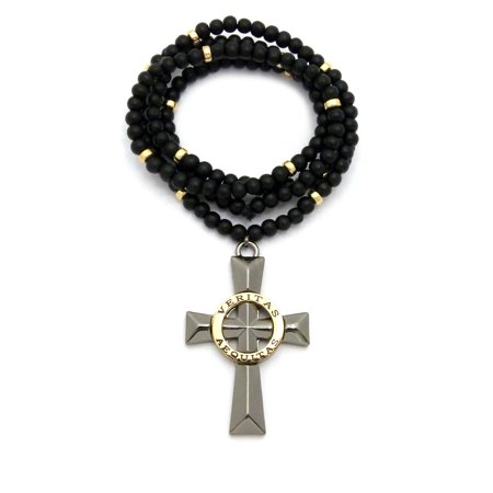 Polished Veritas Aequitas Cross Pendant W6mm 30 Black Wood Bead Color Disc Necklace Hematitegold Tone
