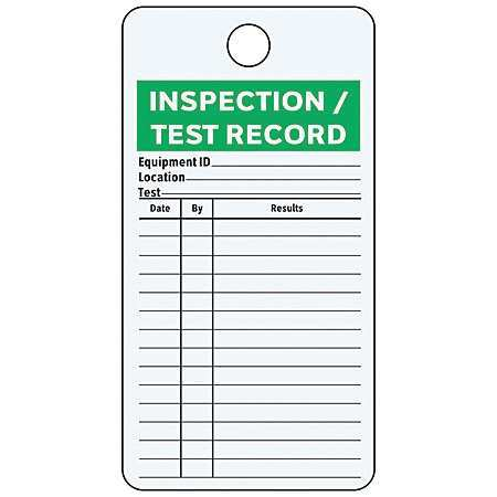 "Test Record Tag, See All Industries, IL-INSP, 4-1/4""Hx3""W"