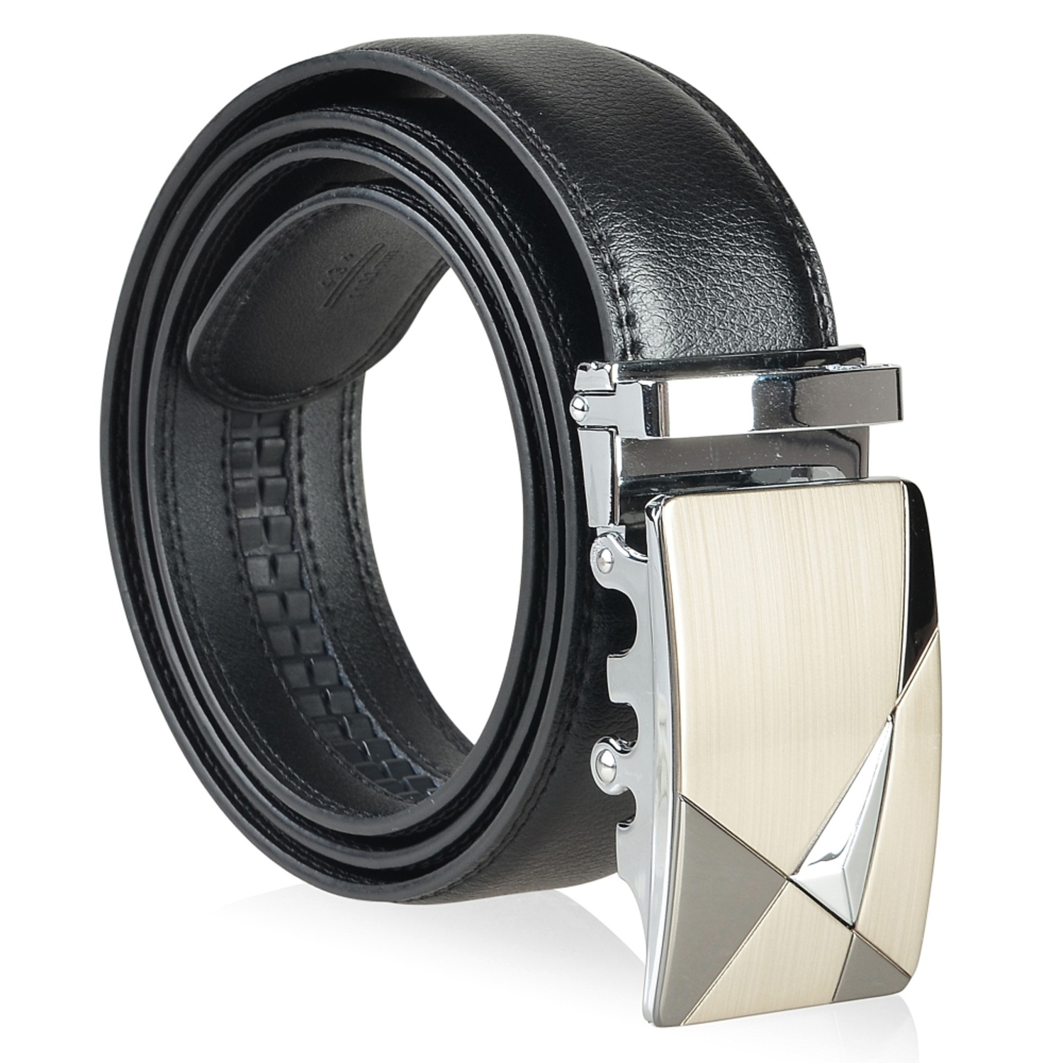 Zodaca Genuine Leather Mens Automatic Buckle Belt (with Gift Box) Men's Sleek Design Stylish Classic, Black