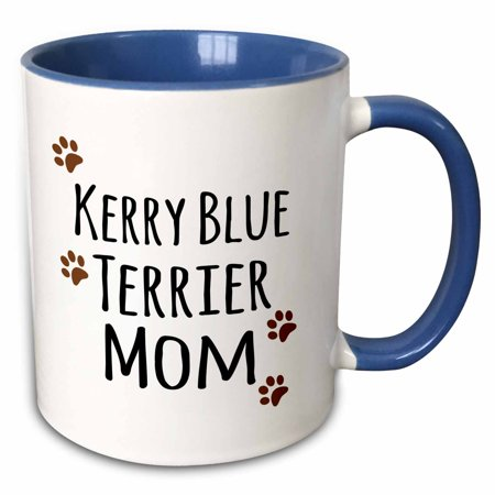 3dRose Kerry Blue Terrier Dog Mom - Doggie by breed - brown muddy paw prints - doggy lover - pet owner mama - Two Tone Blue Mug, 11-ounce Dog Blue Paw Prints