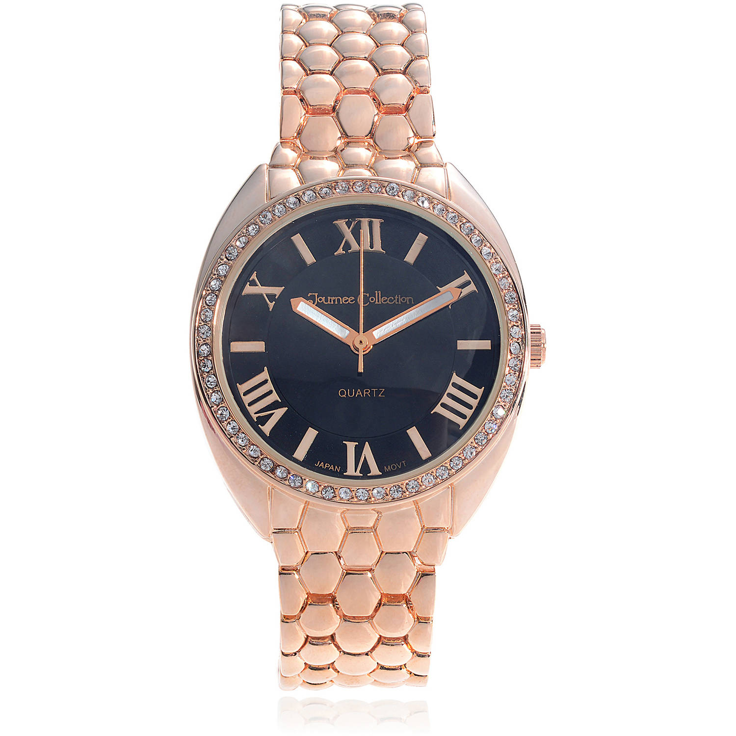 Journee Collection Women's Rhinestone Stainless Steel Link Fashion Watch, Rose Gold