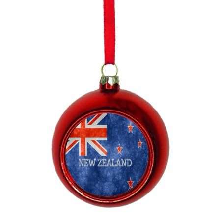 Grunge Ornament (Flag New Zealand Grunge Bauble Christmas Ornaments Red Bauble Tree Xmas Balls )