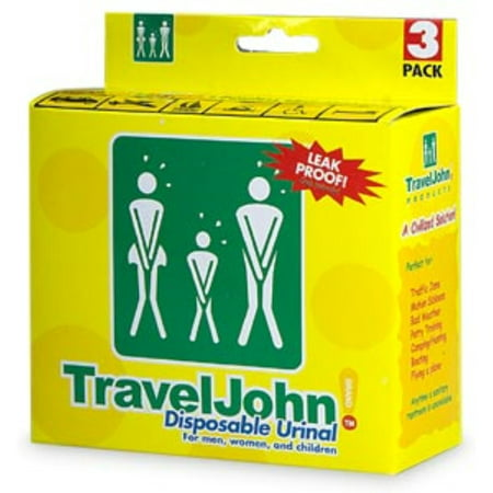 TravelJohn Disposable Urinal for Men, Women & Children 3 ea (Pack of - Traveljohn Disposable Urinal
