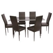 7-Pc Dining Set in Black and Brown Finish