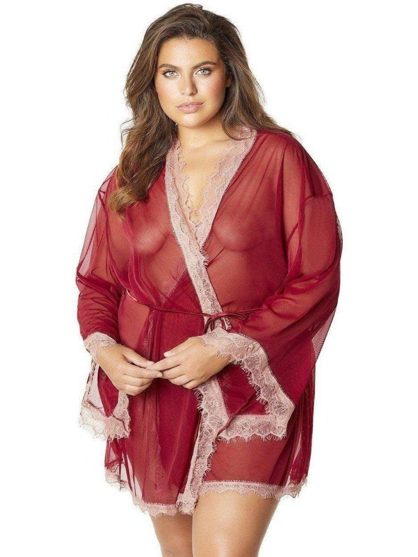 Oh La La Cheri Plus Size Sidonie Eyelash Lace Robe