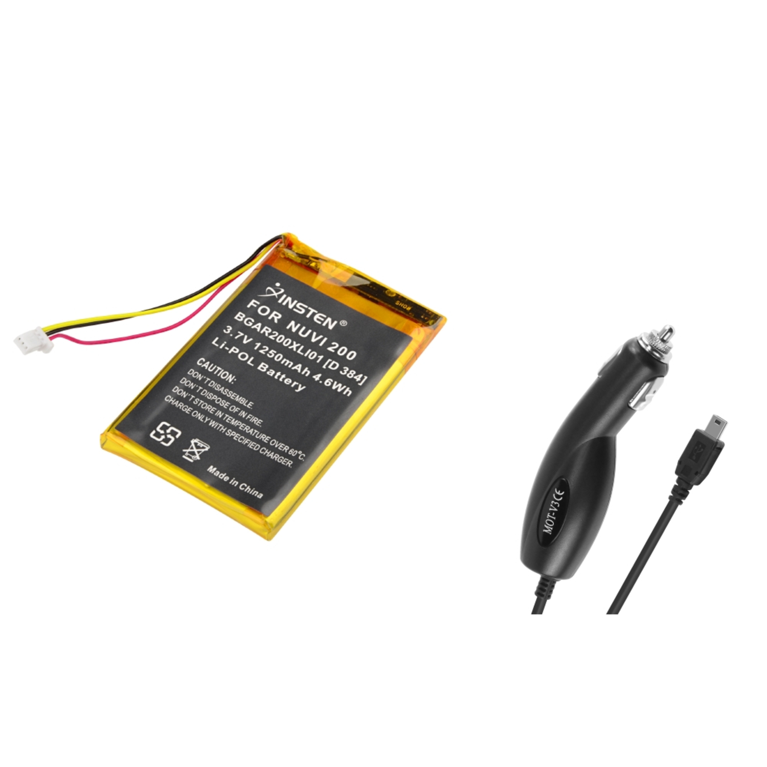Insten 1250mAh li-ion Battery Pack + Car Charger For Garmin Nuvi 200 200W 205 205T 250 260 270 710 750 760 770 780
