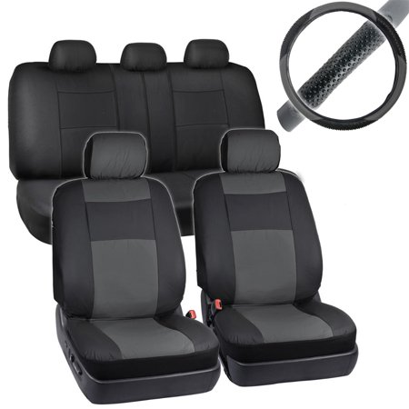BDK 2-Tone PU Leather Car Seat Covers Split Bench Side Airbag Safe with Steering Wheel - Seat Slate