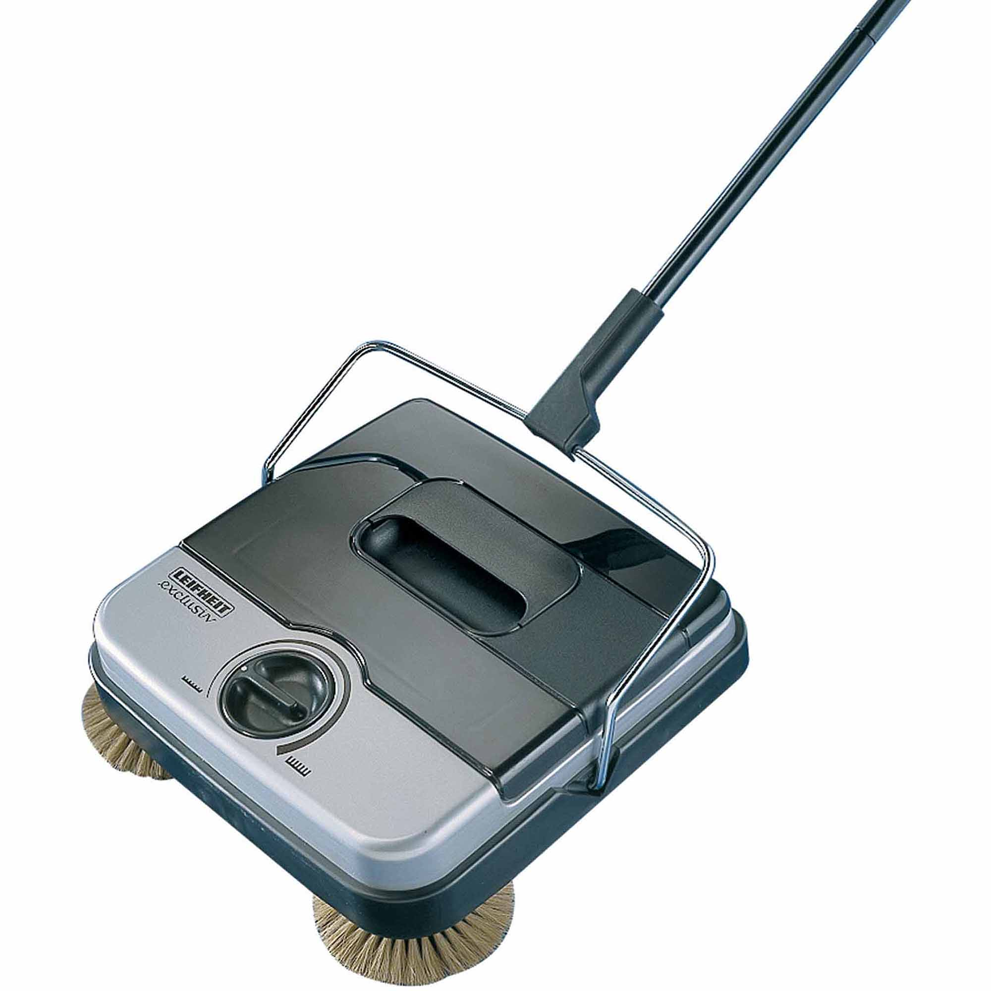 Leifheit Classic Manual Rotaro Carpet Sweeper with Natural Brushes, Black and Grey
