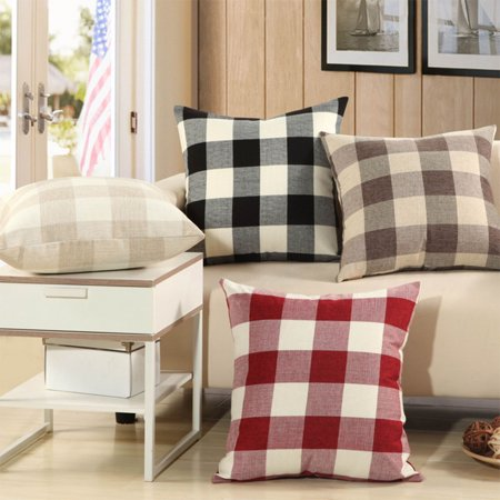 Grid Pattern Style Home Decor Fashion Design Soft Pillow Case Sofa Cushion Cover (Without Pillow) Red and white