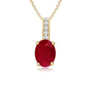 Angara Oval Ruby Pendant With Diamond Encrusted Bail in 14k Yellow Gold GdA7ZcJFyI