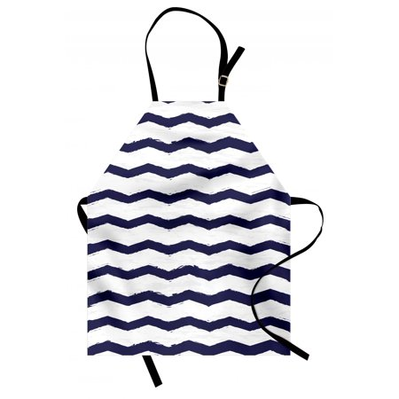 Navy Apron Chevron Twisty Pattern in Nautical Style Tones Ocean Sea Life Cottage House Design, Unisex Kitchen Bib Apron with Adjustable Neck for Cooking Baking Gardening, Indigo White, by Ambesonne ()