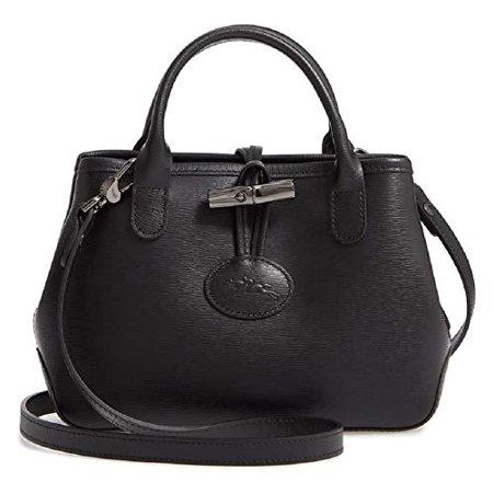 Longchamp Cross Body - Longchamp Women's Mini Roseau Black Leather Crossbody Messenger Handbag
