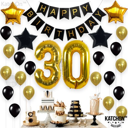 One Year Old Party Decorations (30th Birthday Party Decorations KIT - Happy Birthday Banner, 30th Gold Number Balloons,Gold and Black, Number 30, Perfect 30 Years Old Party Supplies,Free Bday Printable)