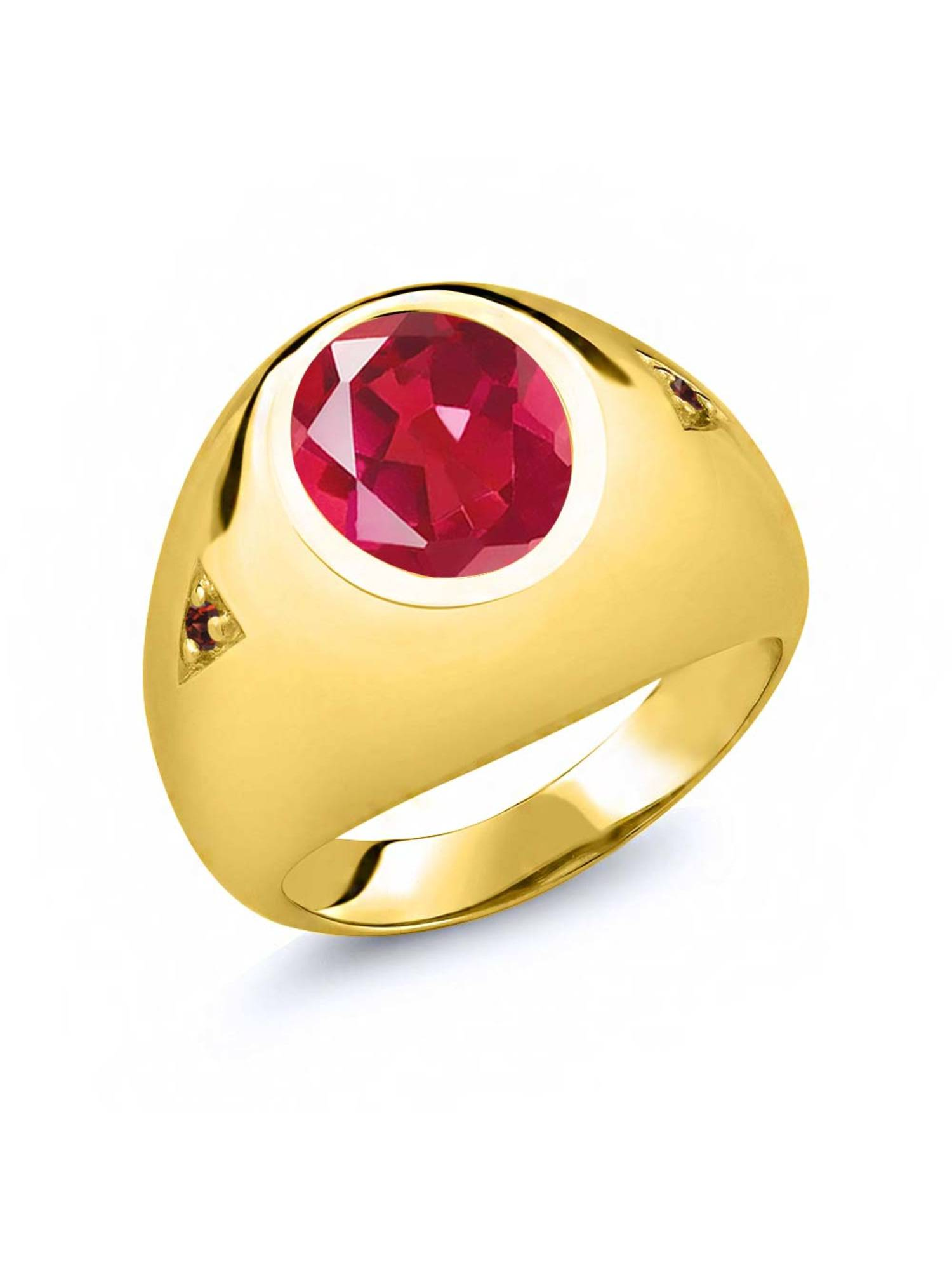 4.08 Ct Last Dance Pink Mystic Quartz Red Garnet 18K Yellow Gold Plated Silver Men's Ring by