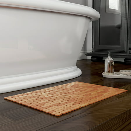 91 Bath - Bamboo Bath Mat- Natural Wooden Non-Slip Roll Up with Lattice Design by Lavish Home