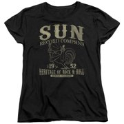 Sun Records Rockabilly Bird Womens Short Sleeve Shirt