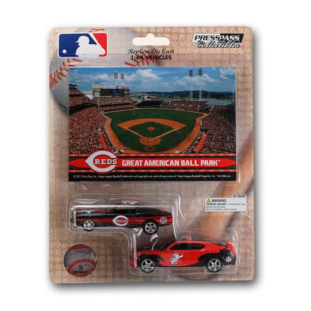 MLB Cincinnati Reds Ford Mustang And Dodge Charger 1:64 Scale Diecast Cars-Cinci