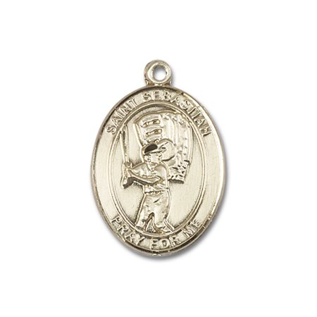14kt Yellow Gold St. Sebastian / Baseball Medal 1 x 3/4 (Gold Medal Winning Baseball)