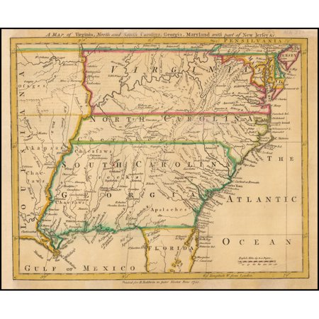 Georgia Satellite Map (LAMINATED POSTER A Map of Virginia, North and South Carolina, Georgia, Maryland with part of New Jersey, &c. POSTER PRINT 24 x 36)