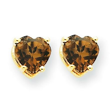 14k Gold 5mm Heart Smokey Quartz Earrings - .66 cwt