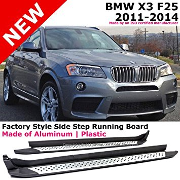 BMW F25 X3 2011 to 2014 Running Board Side Step Nerf Bar Rail Direct Bolt-on Black