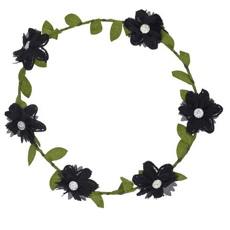 Lux Accessories Girls Black Flower Girl Bridal Coachella Flower Crown Headband