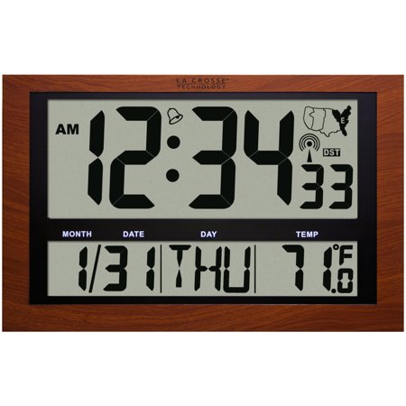 La Crosse Technology Jumbo Digital Atomic Red Wood Colored Wall Clock With Temperature