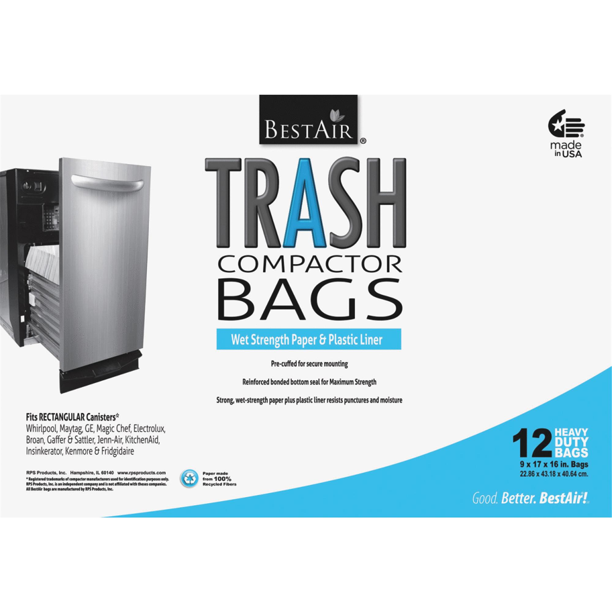 "Bestair Heavy Duty Compactor Bags, 16"" D x 9"" W x 17"" H, 12 Ct"