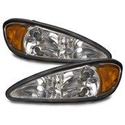 PERDE 1999-2005 Pontiac Grand Am Chrome Headlights Set w/Performance Lens GM2502196 and GM2503196