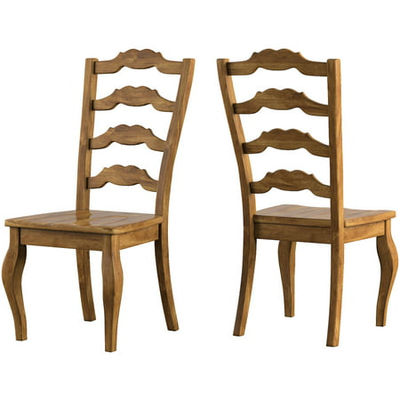 Weston Home Farmhouse Dining Chair with French Ladder Back (Set of 2) 2 French Country Chairs