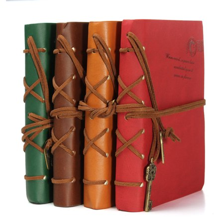 Hot Sale Vintage Leather Cover Key Pendant String Blank Diary Notebook Journal Notepad (Diary Photo Note)