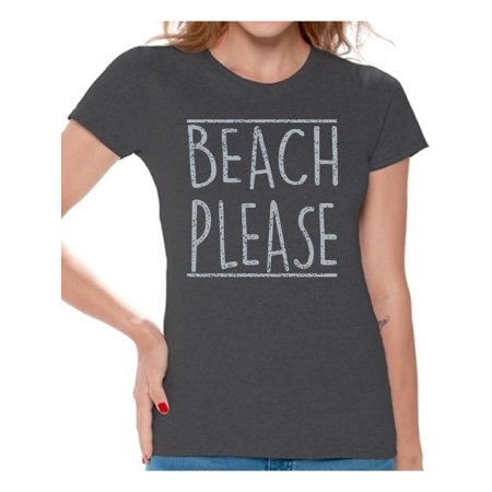 Awkward Styles Beach Please Women Shirt Hawaiian T-Shirt Women's Summer Vacation Tshirt Vacay Mode T-Shirt Beach Party Outfit Funny Summer Gifts for Her Hawaiian Shirts for Women Beach Women's Tshirt