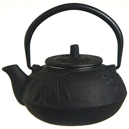 Bamboo Cast Iron Teacup (New Star International T7010 Cast Iron Teapot, 21-Ounce, Black Bamboo )