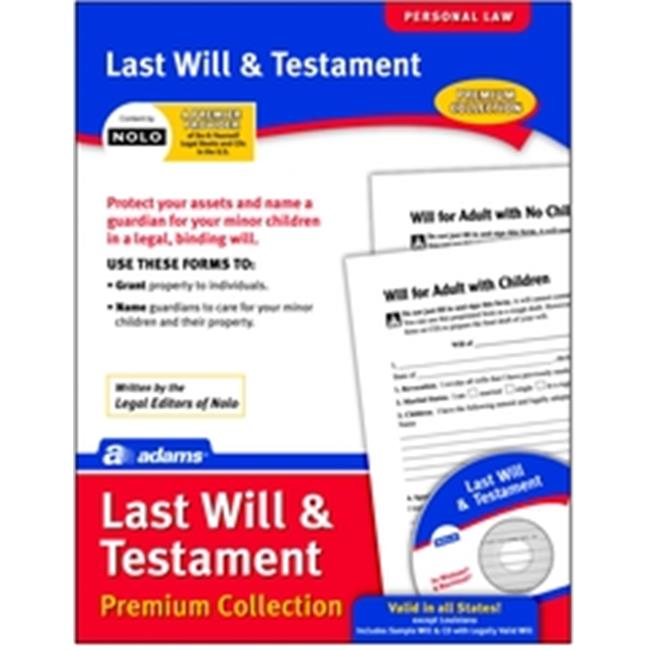 Adams ALFP117 Last Will & Testament Forms & CD Pack